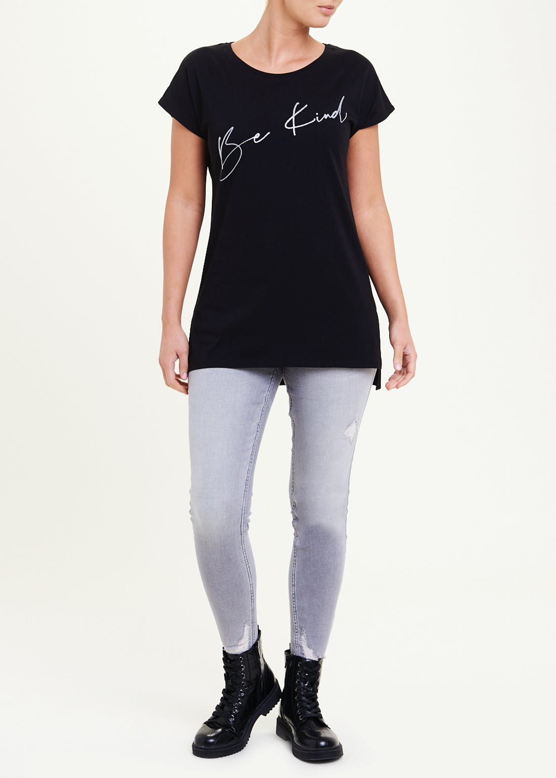 Be Kind Longline Slogan T-Shirt
