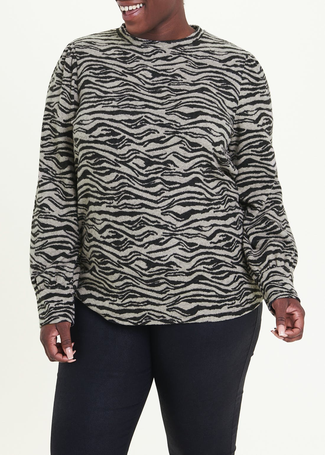 Papaya Curve Zebra Print Puff Sleeve Snit Top
