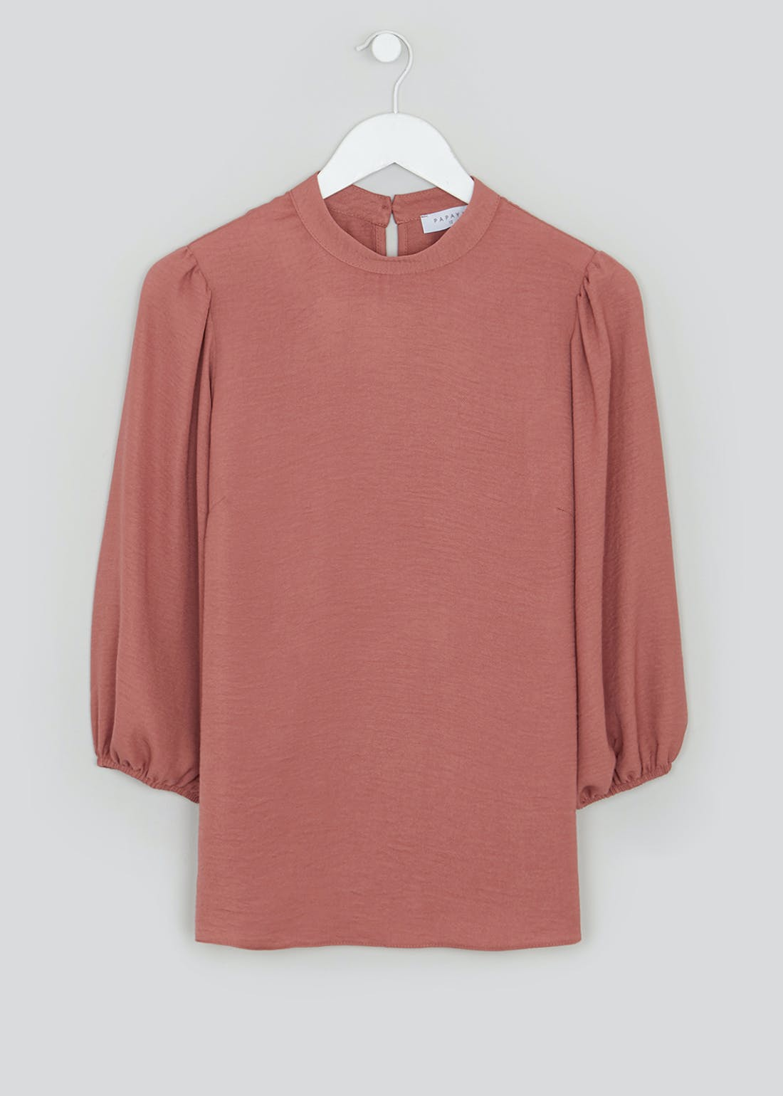 Pink Puff Sleeve High Neck Blouse