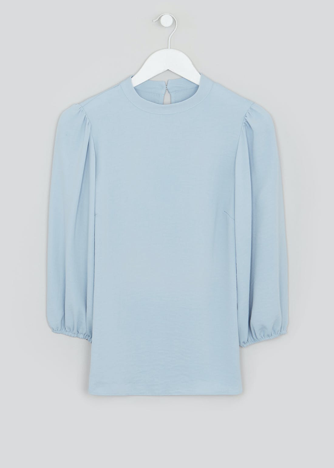 Blue Puff Sleeve High Neck Blouse