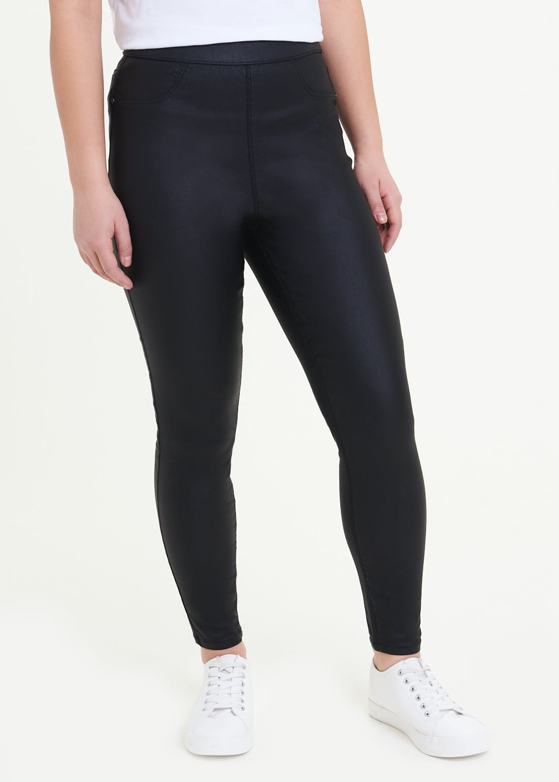 Papaya Petite Rosie Pull On Coated Jeggings