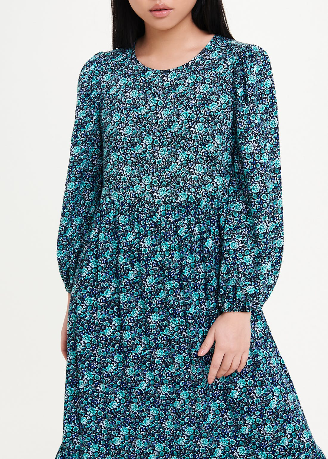Papaya Petite Long Sleeve Floral Tiered Midi Dress