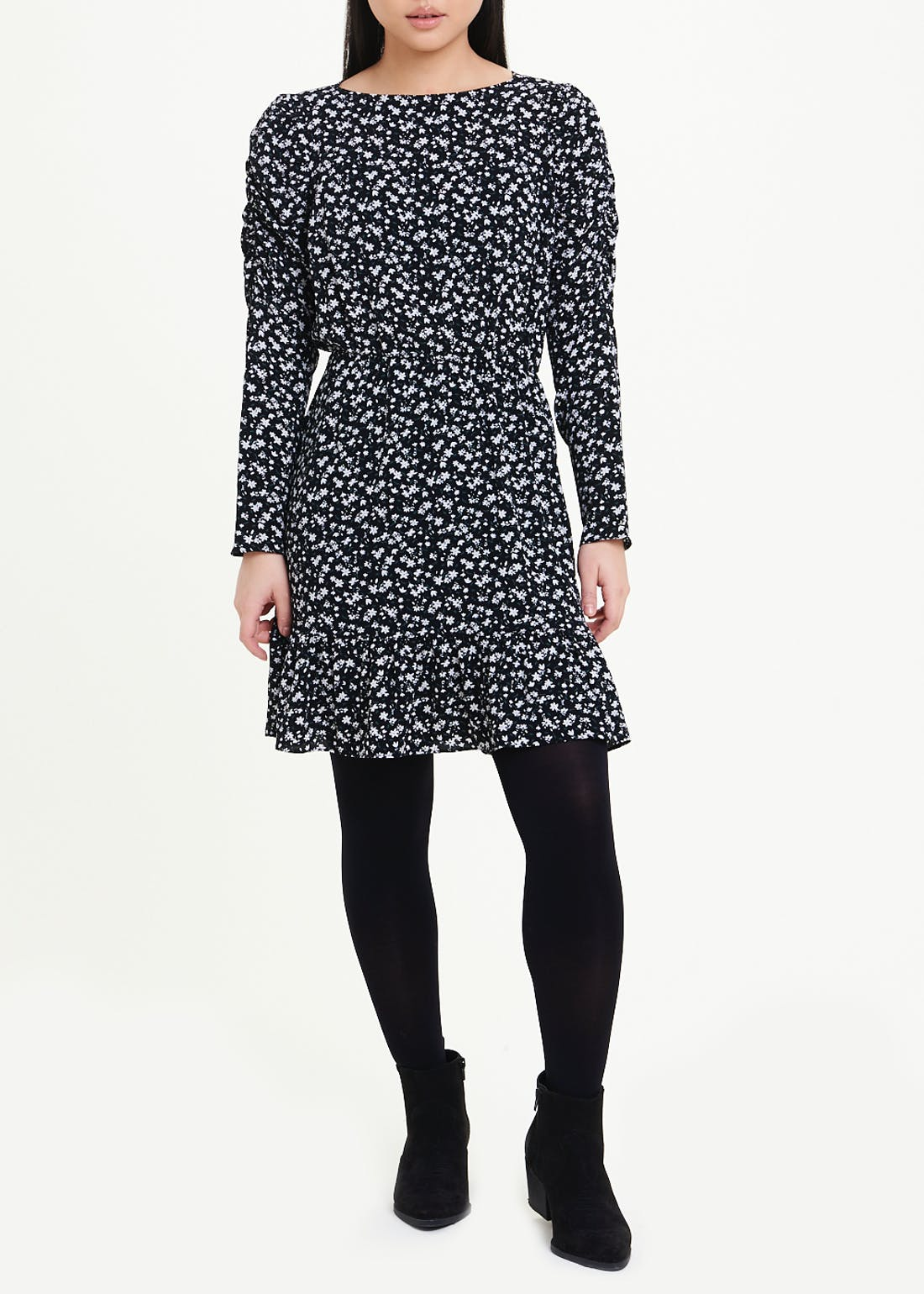 Papaya Petite Black Ruched Sleeve Floral Dress