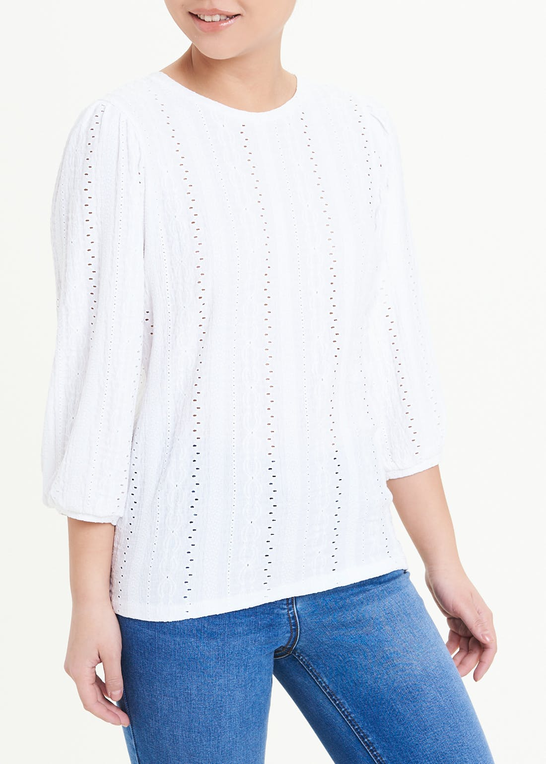 Papaya Petite 3/4 Puff Sleeve Embroidered Top