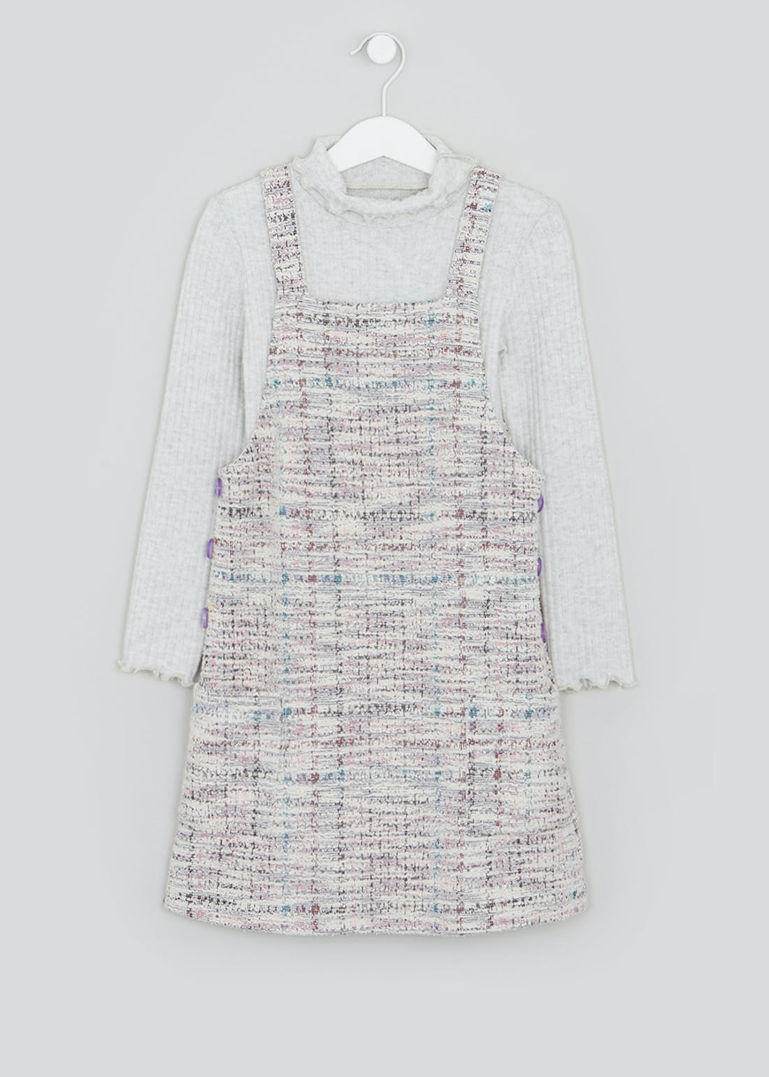 Girls Boucle Check Pinafore & Roll Neck Top Set (4-13yrs)