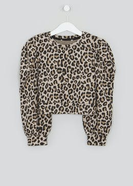 Girls Leopard Print Ponte Sweatshirt (4-13yrs)