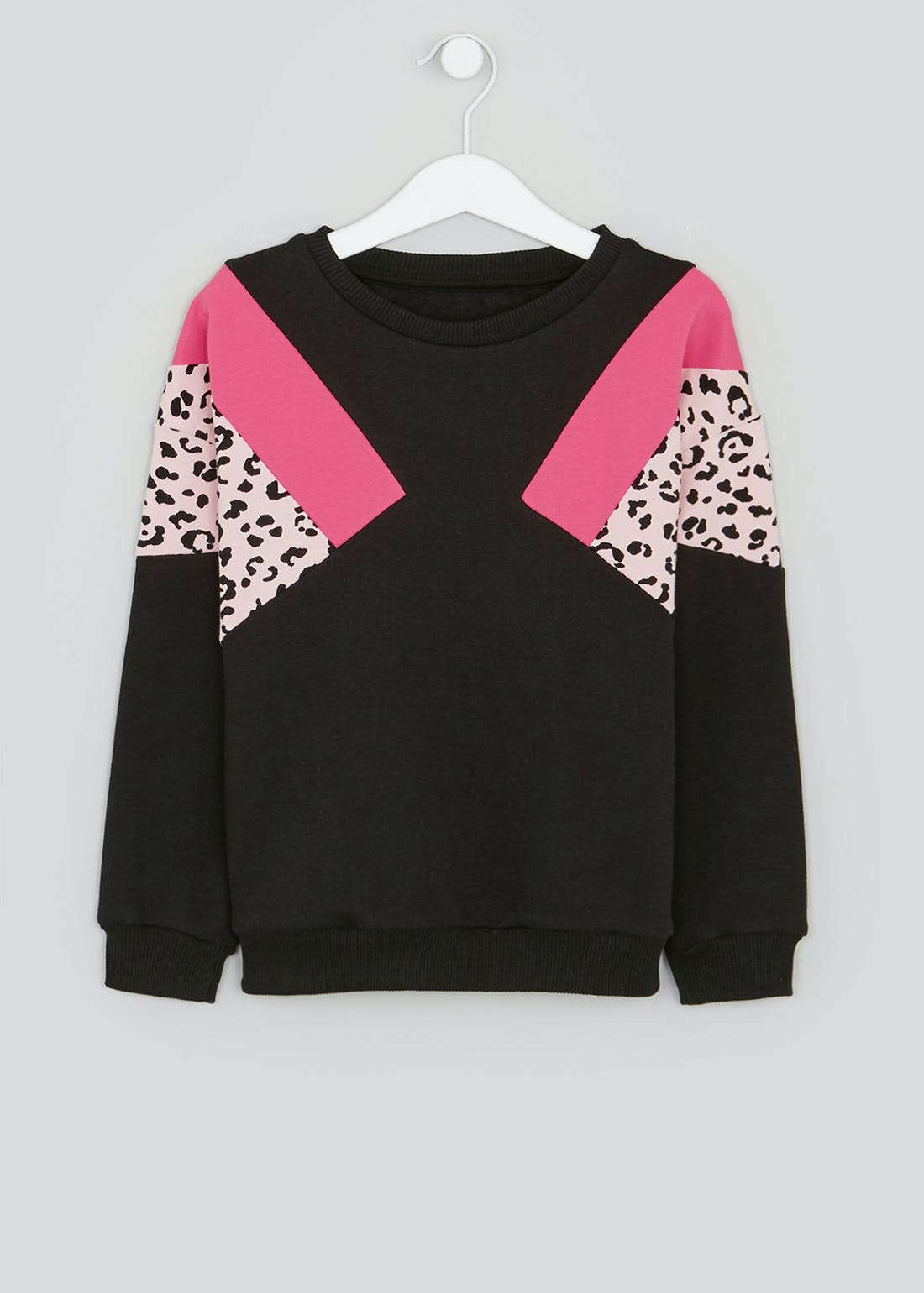 Girls Leopard Print Panel Sweatshirt (4-13yrs)