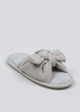 Grey Bow Mule Slippers