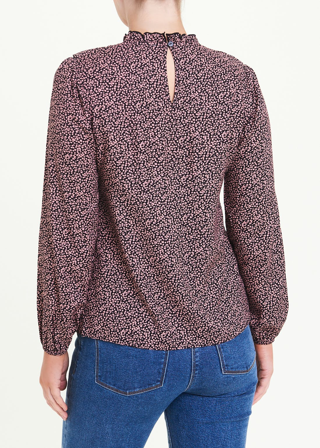 Long Sleeve Floral Frill Blouse
