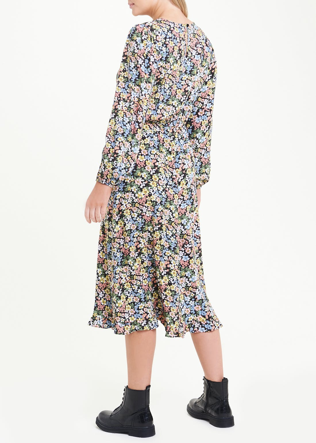 Ditsy Floral Puff Sleeve Midi Dress