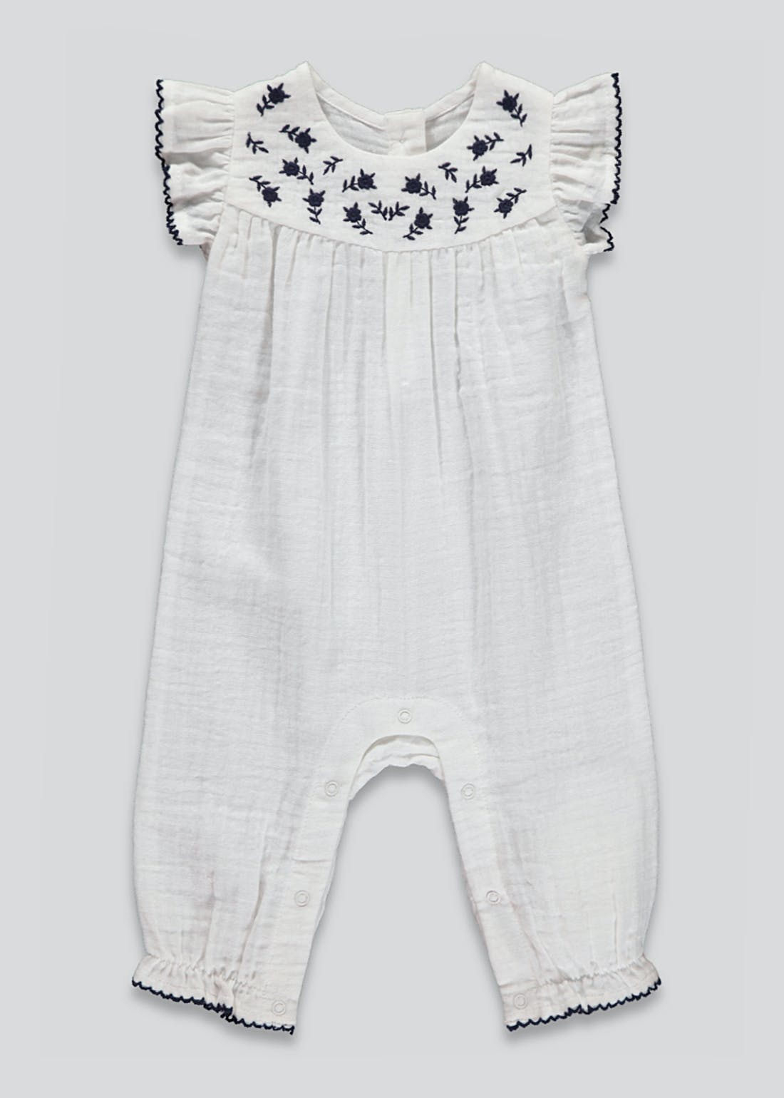 Girls Embroidered Frill Romper (Tiny Baby-23mths)