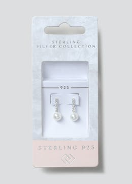 Sterling Silver Rhinestone Pearl Stick Earrings.