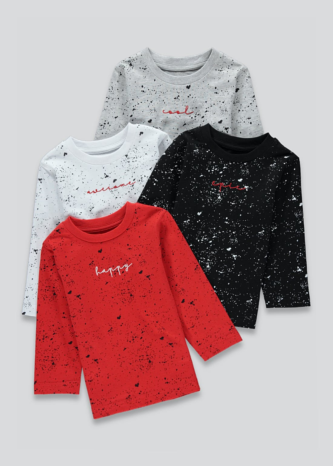 Unisex 4 Pack Splatter T-Shirts (9mths-6yrs)