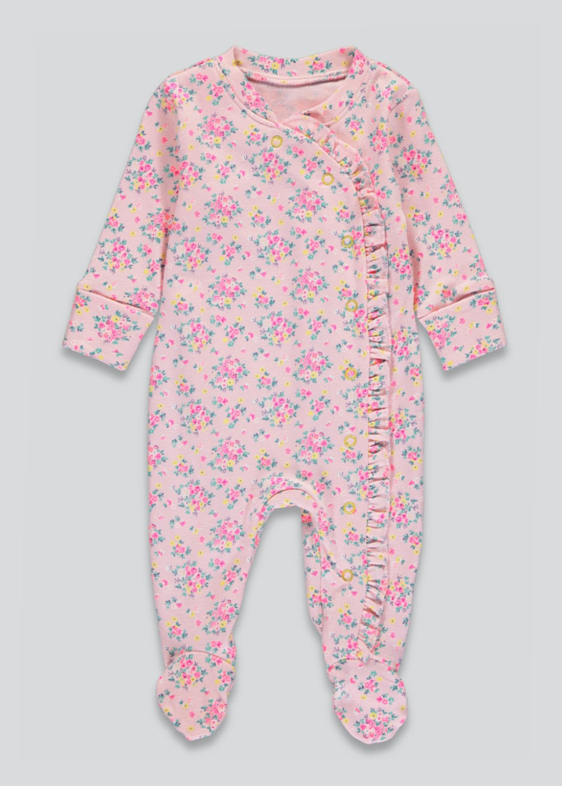 Girls Floral Frill Baby Grow (Tiny Baby-9mths)