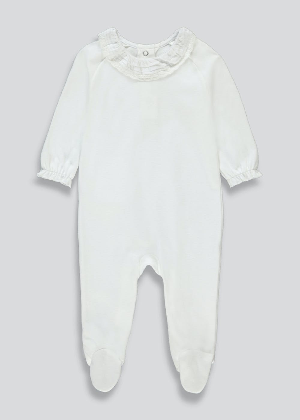 Unisex Frill Detail Baby Grow (Tiny Baby-9mths) – White