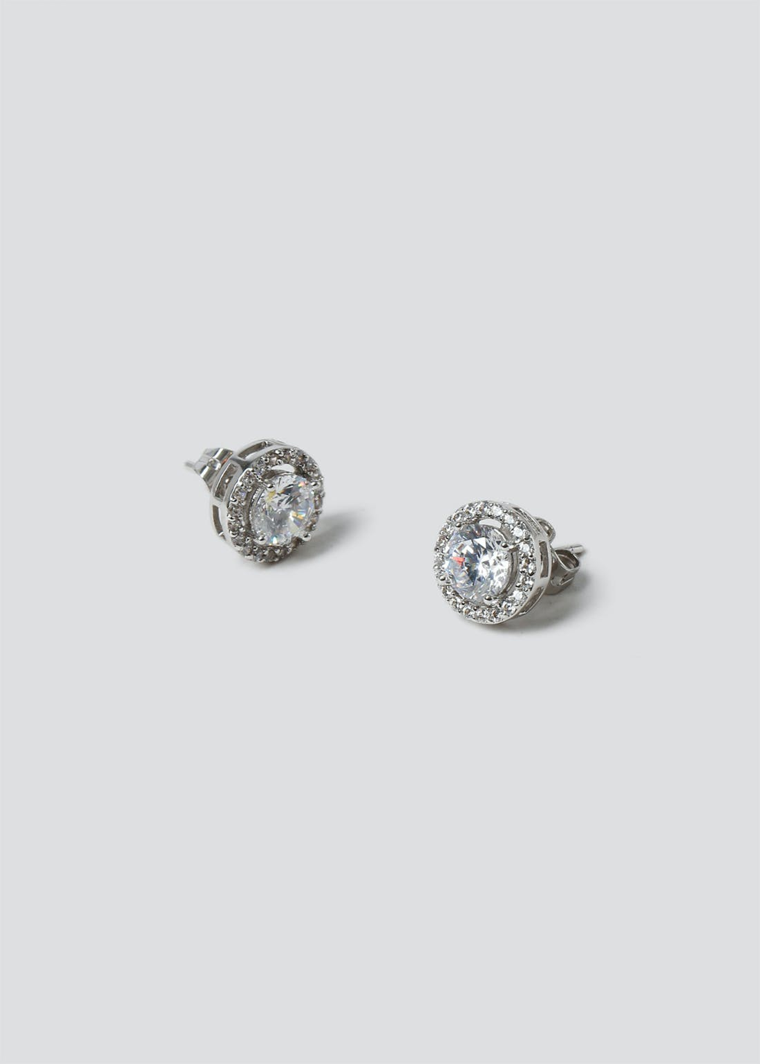 Platinum Plated Circle Stud Earrings In a Gift Box