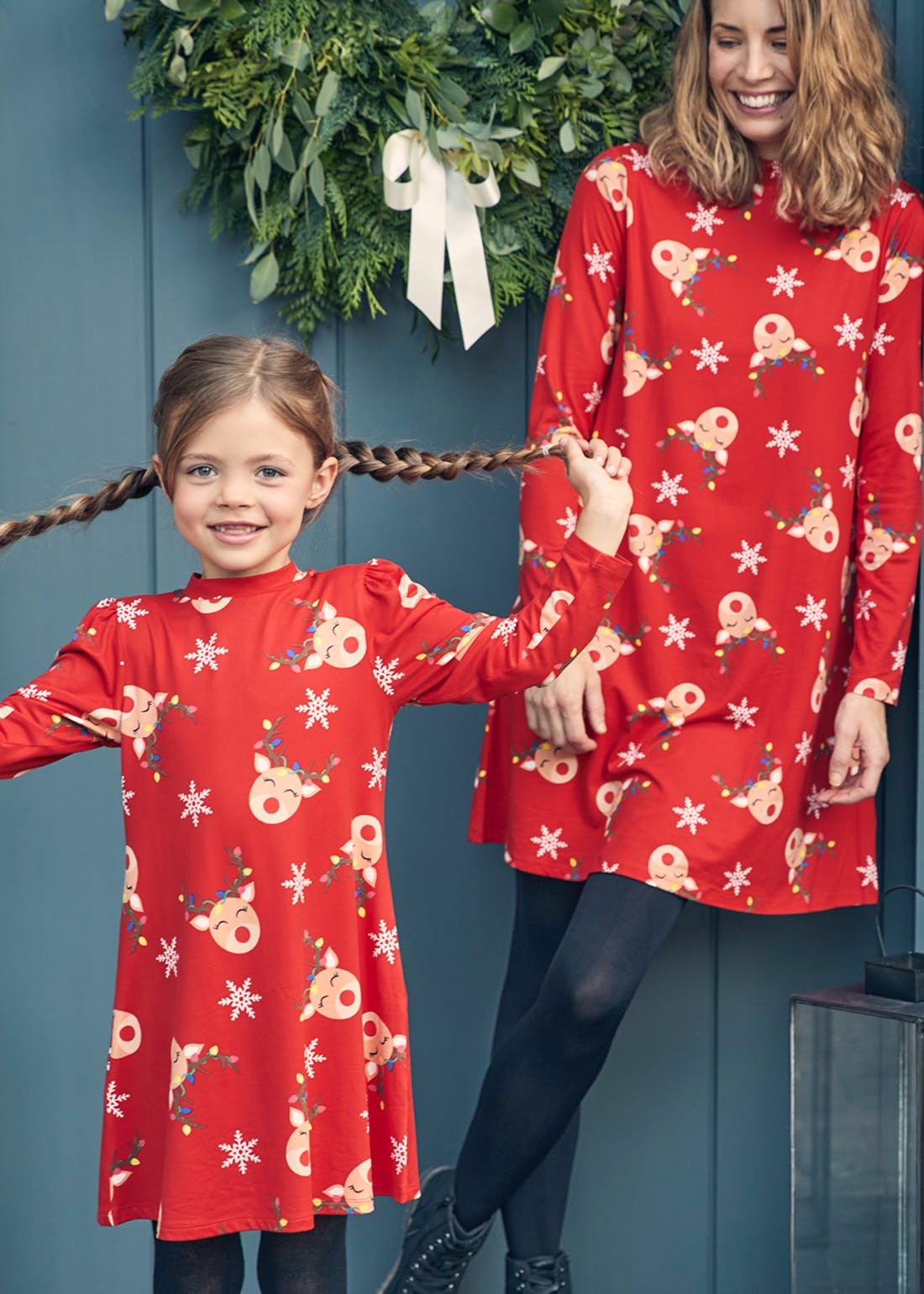 Red Christmas Reindeer Swing Dress