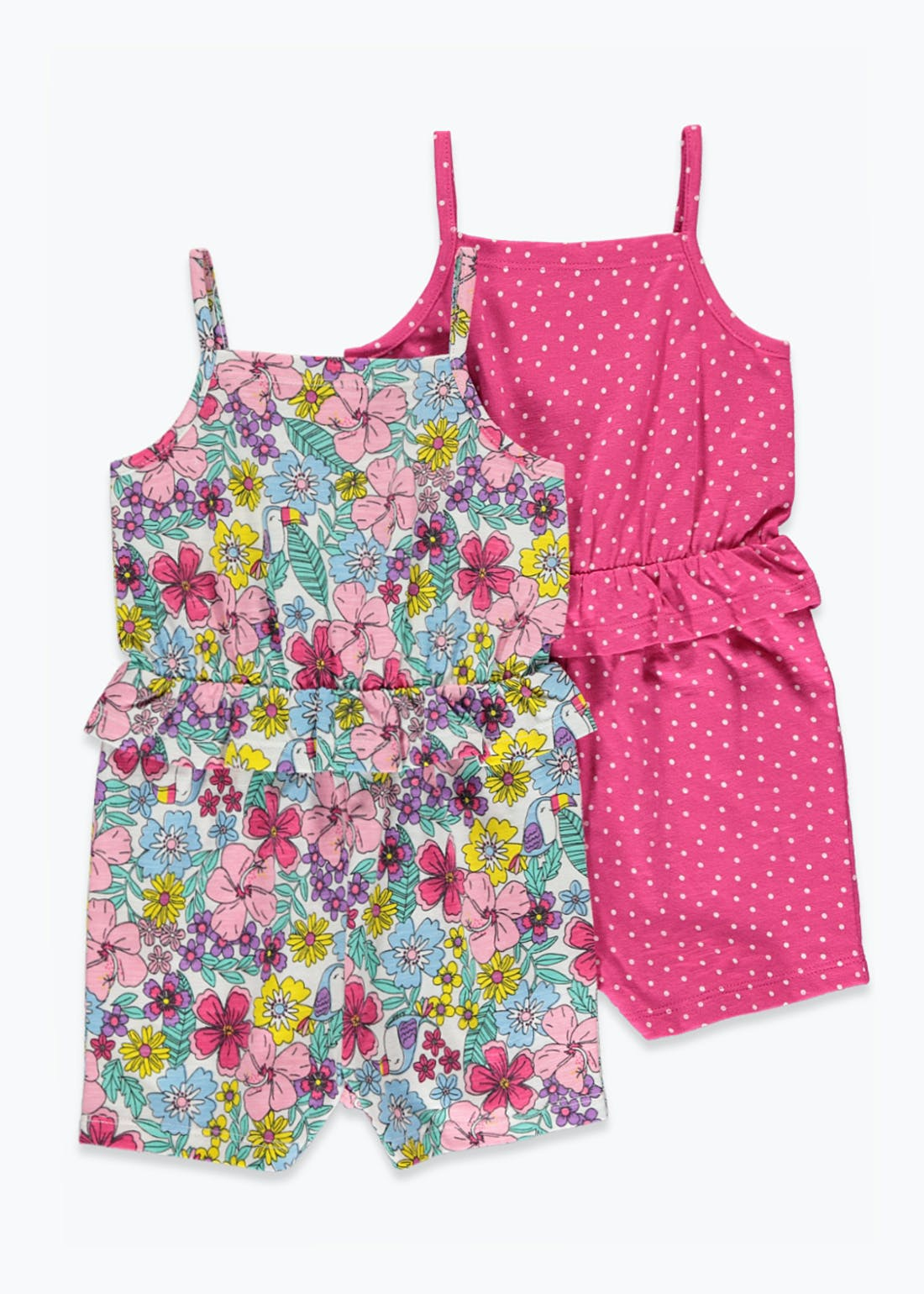 Girls 2 Pack Floral Playsuits (9mths-6yrs)