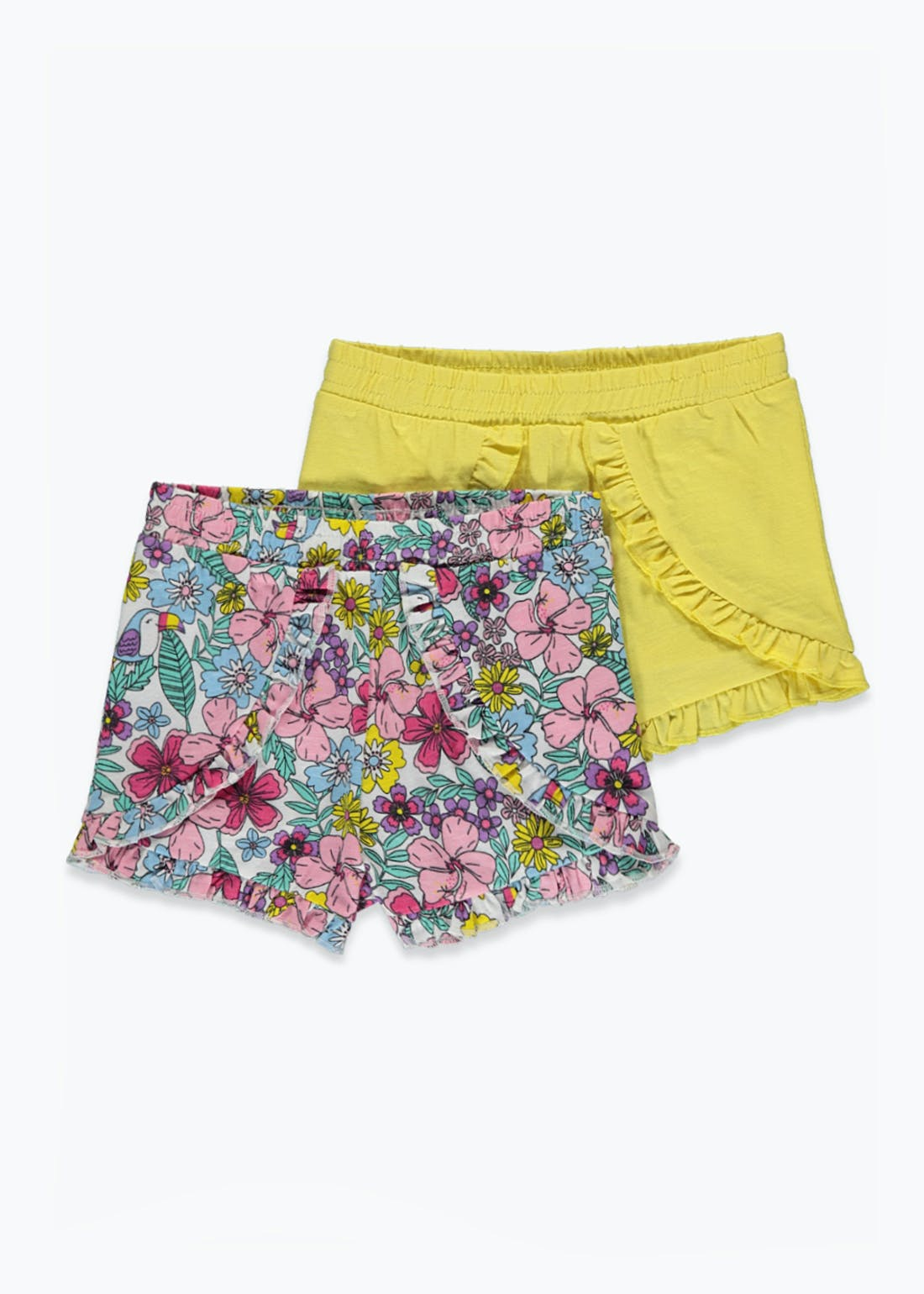 Girls 2 Pack Floral Frill Shorts (9mths-6yrs)
