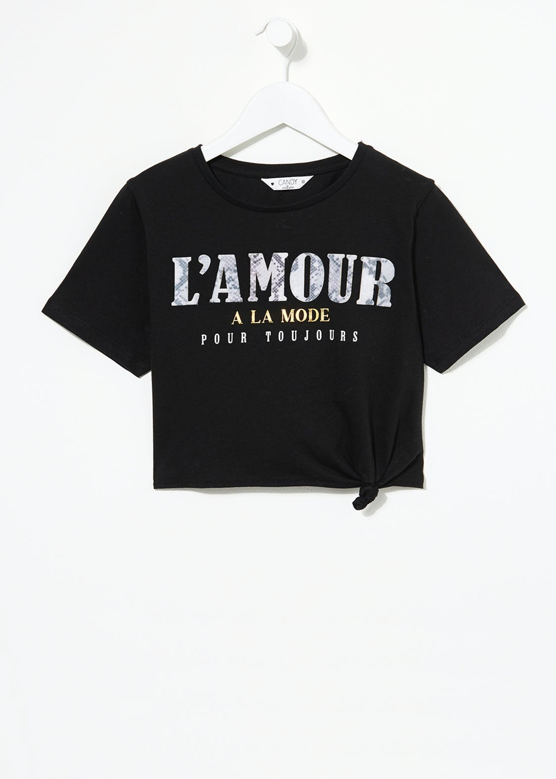 Girls Candy Couture L'Amour Cropped T-Shirt (9-16yrs)