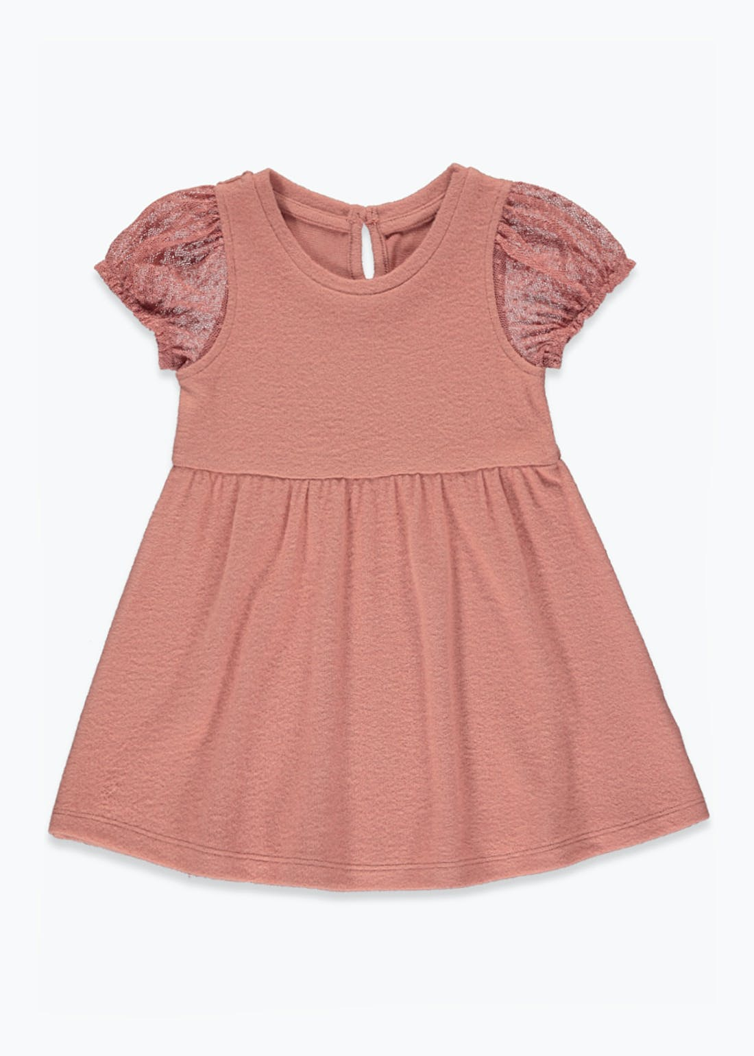 Girls Pink Puff Sleeve Dress (9mths-6yrs)