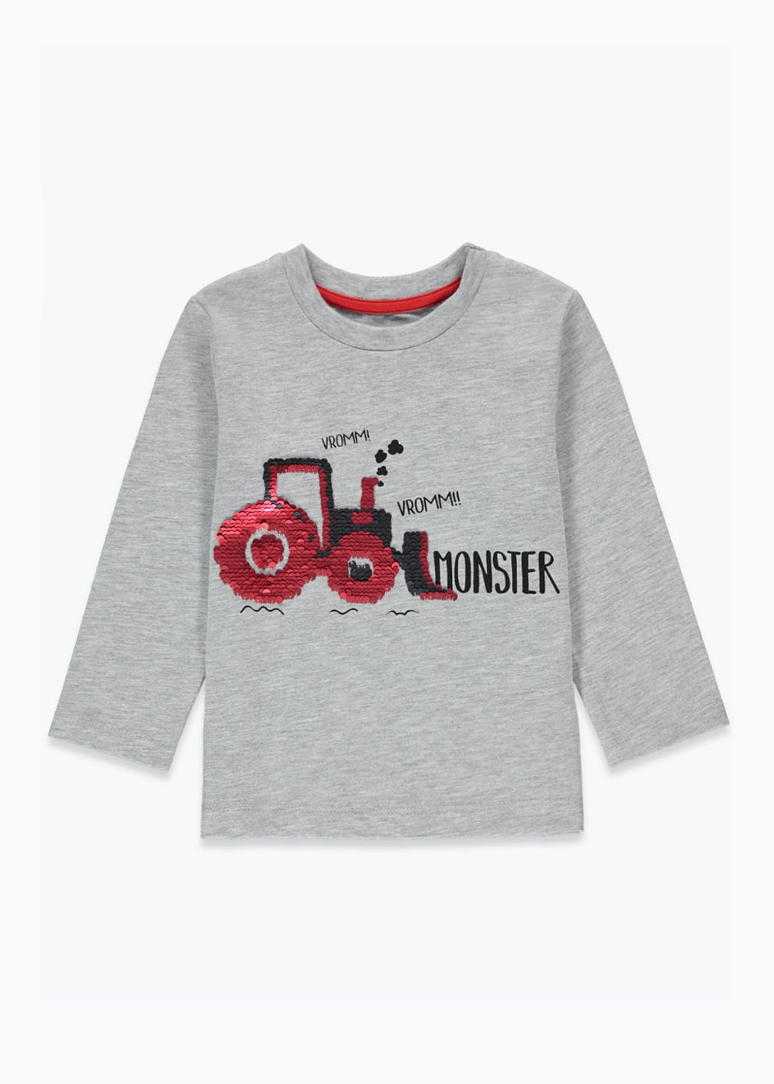 Boys Long Sleeve Flippy Sequin Tractor T-Shirt (9mths-6yrs)