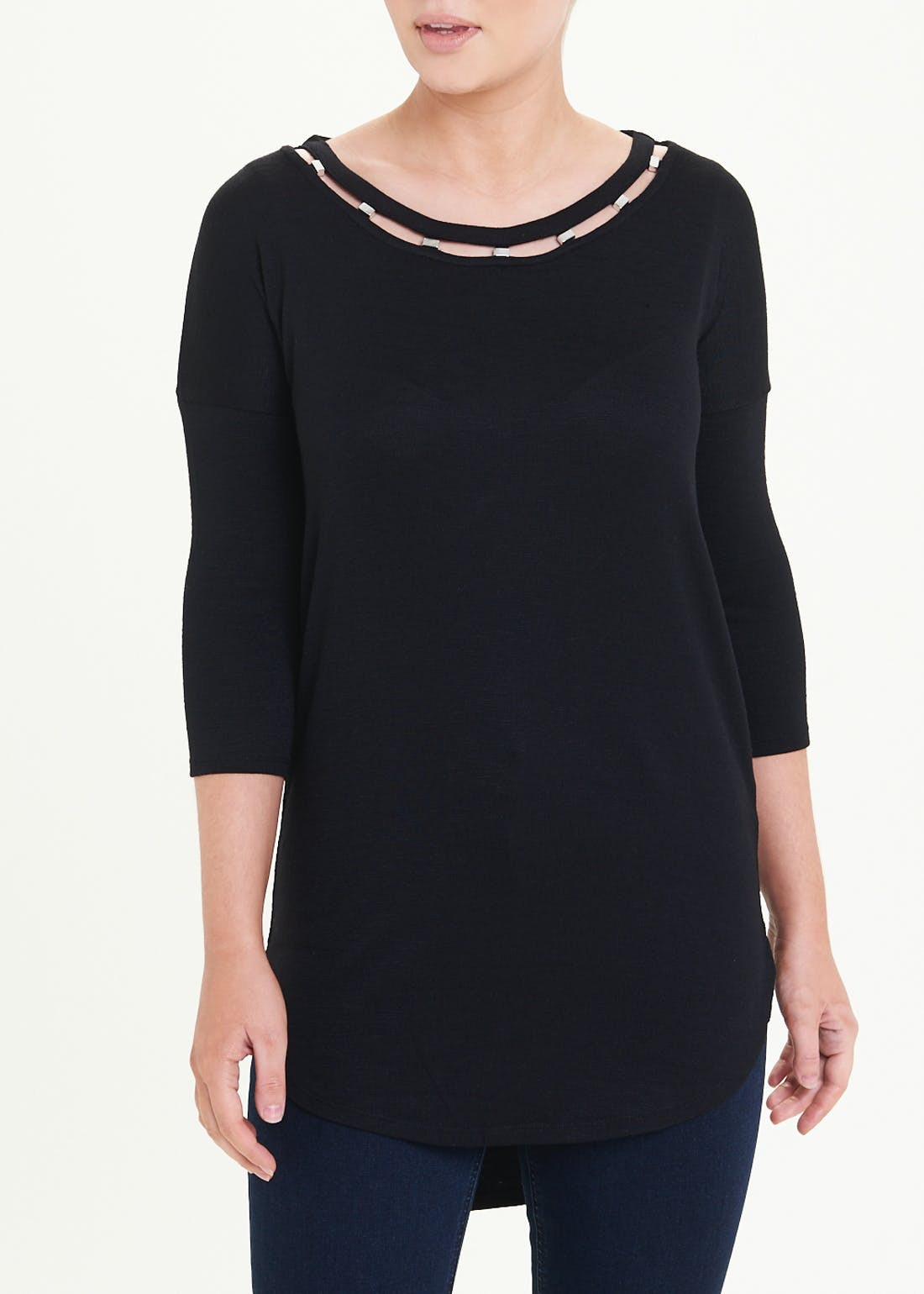 3/4 Sleeve Oversized Bead Neck Top