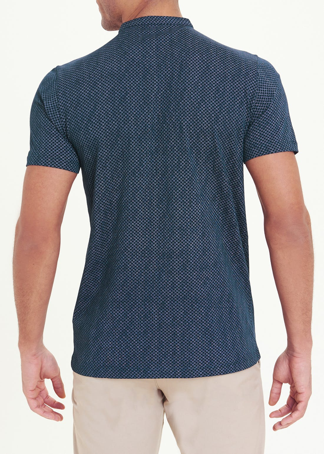 Printed Grandad Collar T-Shirt