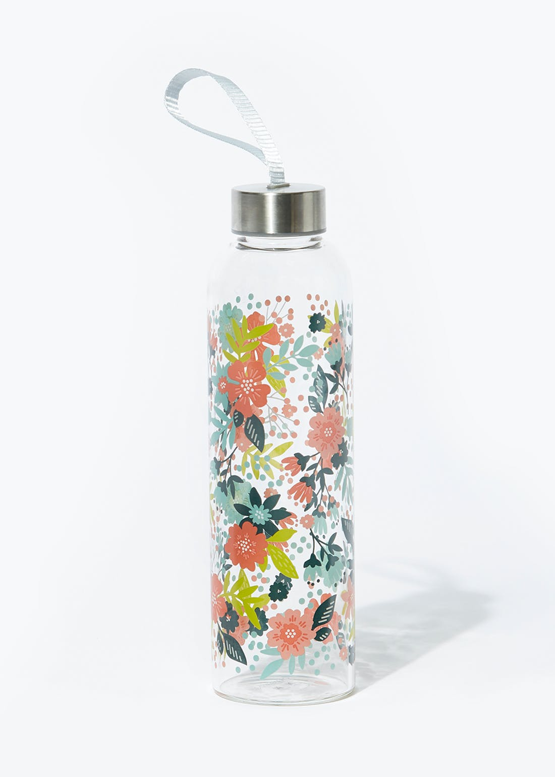 Floral Glass Water Bottle (550ml)