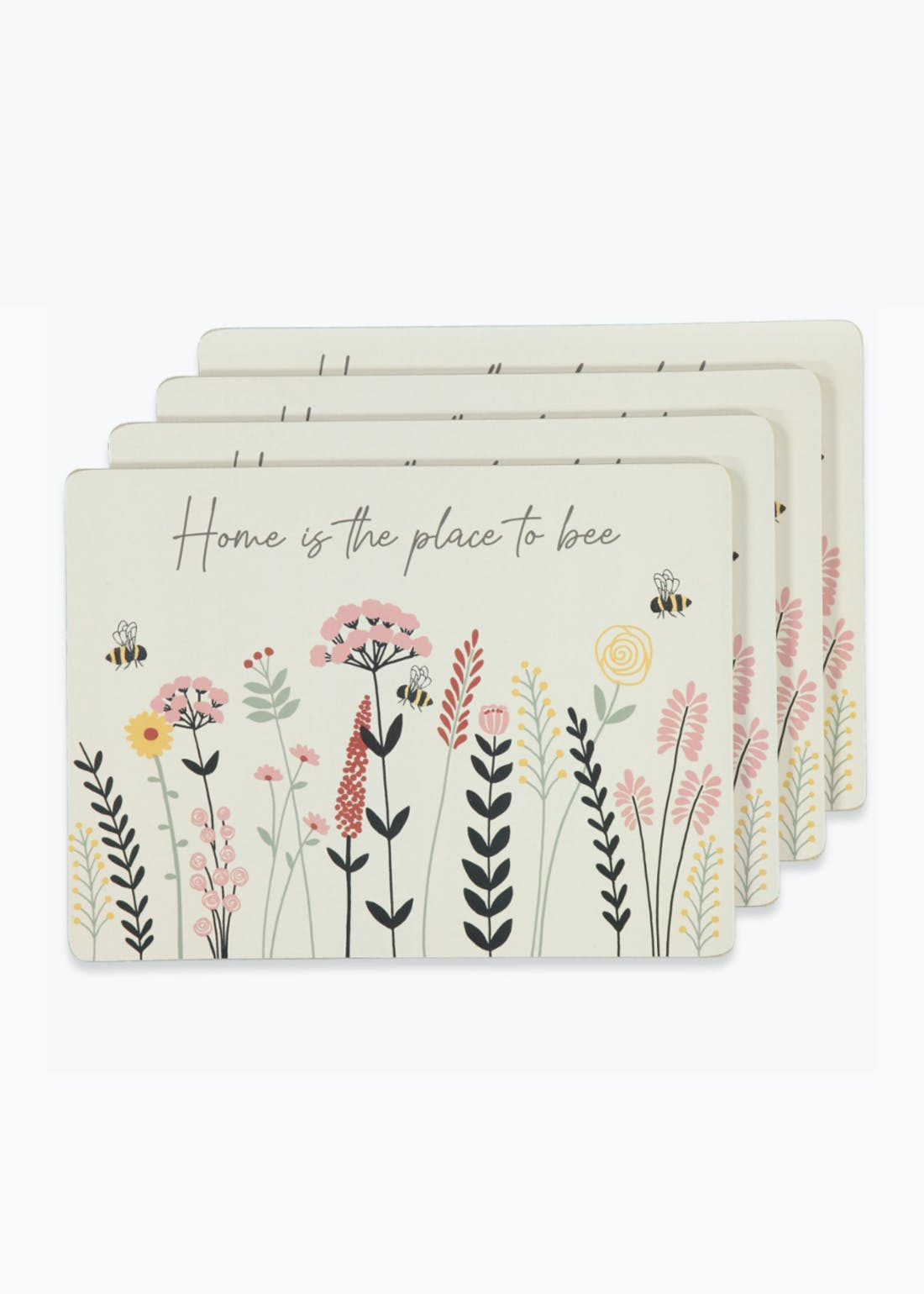 4 Pack Floral Bee Placemats (29cm x 21.5cm)