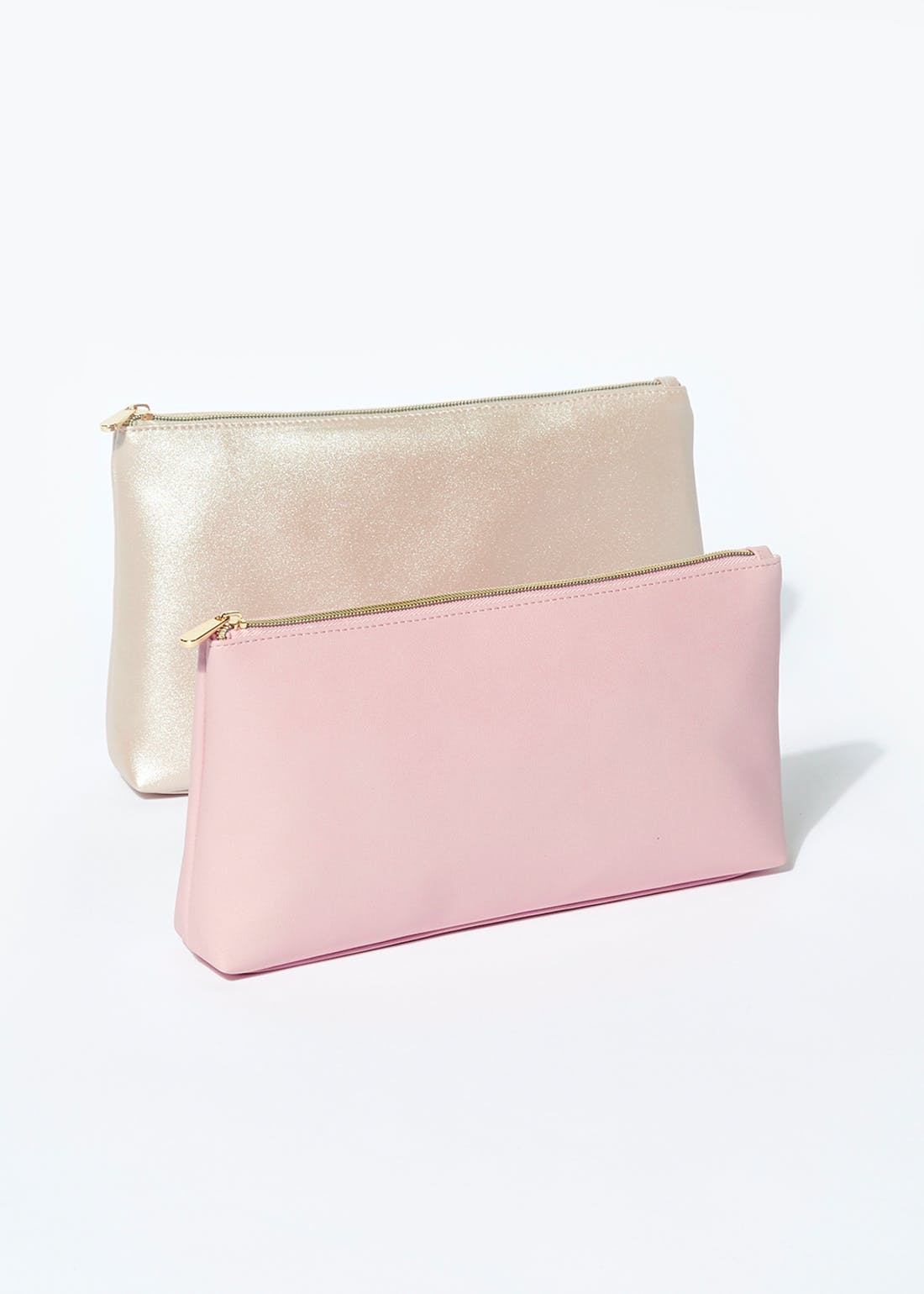 2 Pack Faux Leather Make Up Bags