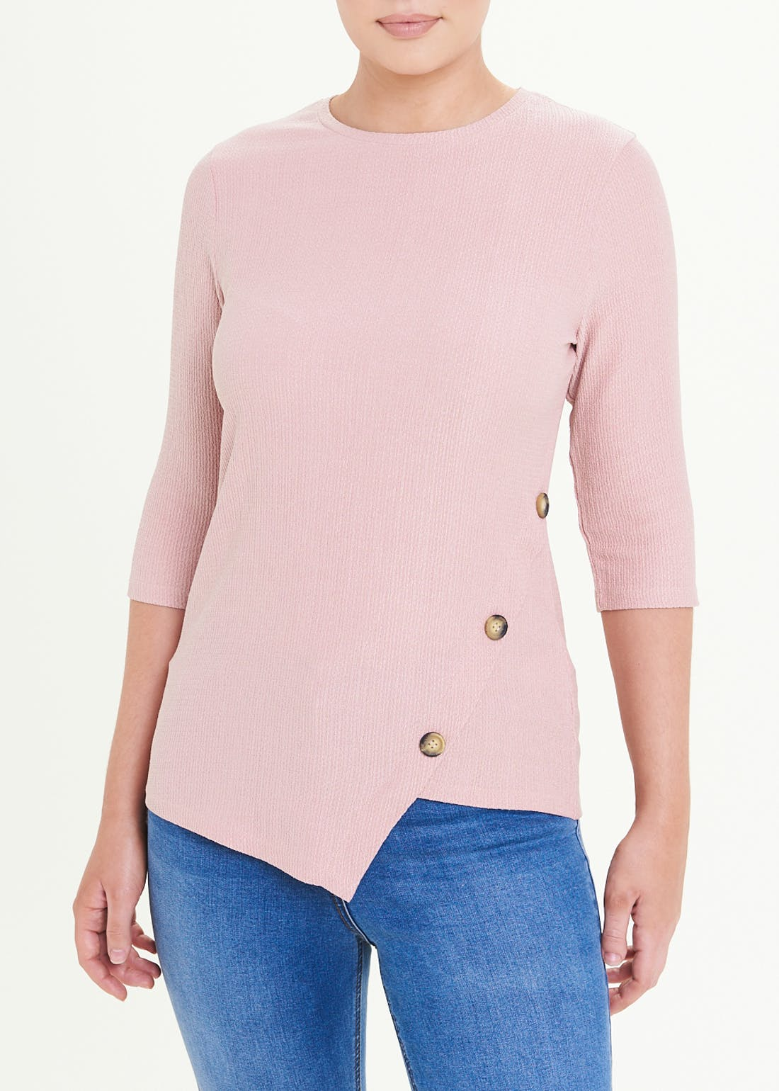 Ribbed Button Top