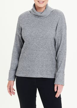 Soft Touch Ribbed Roll Neck Jumper