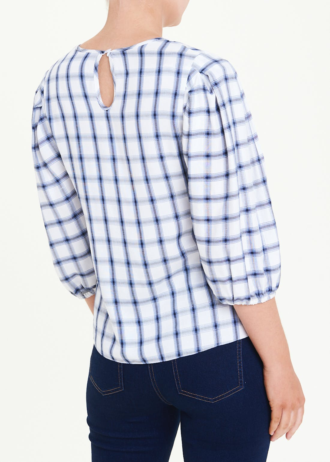 Check Puff Sleeve V-Neck Blouse