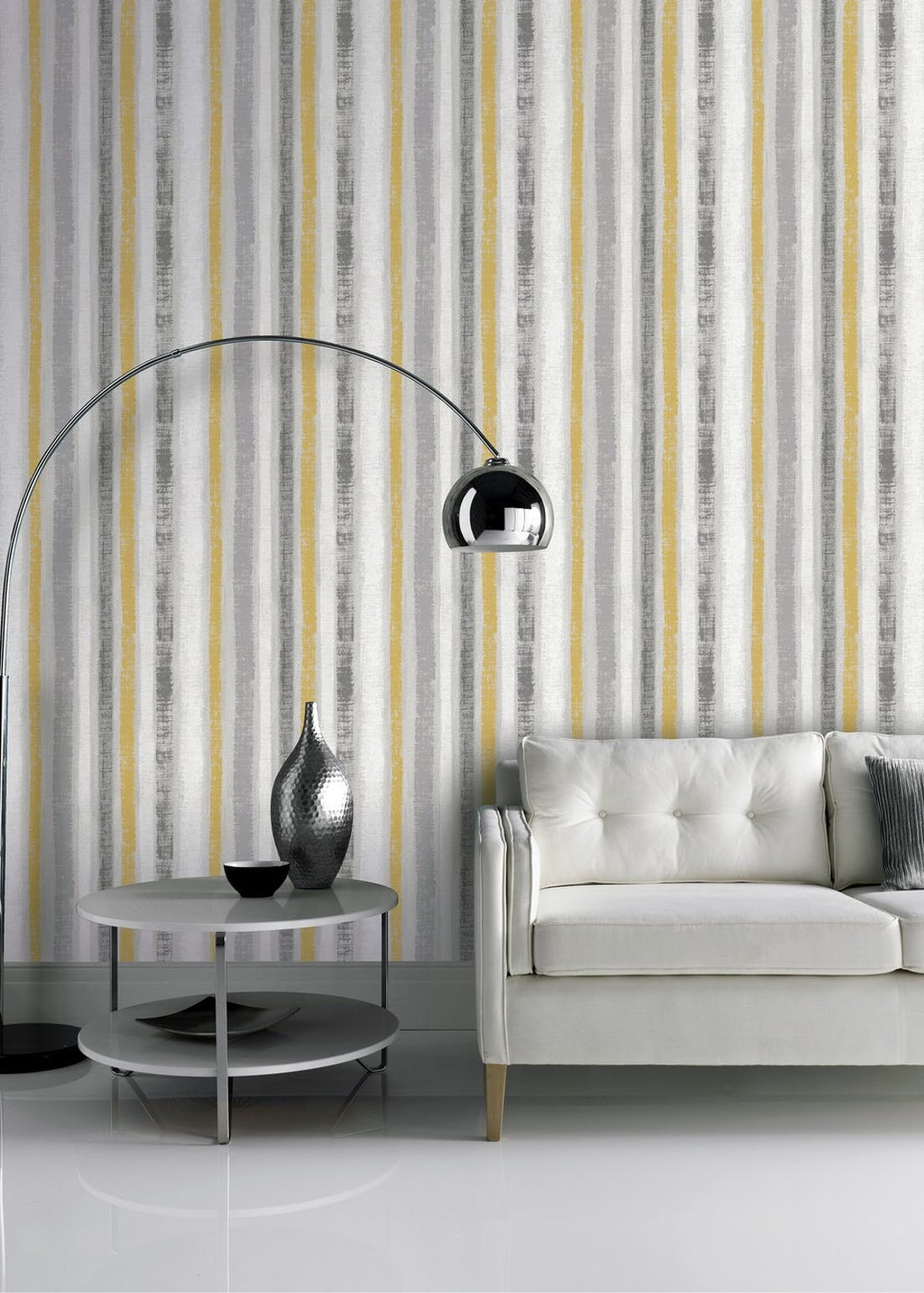 Arthouse Painted Stripe Yellow Wallpaper (10.05m x 53cm)