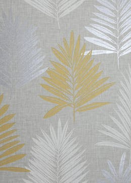 Arthouse Linen Palm Grey & Yellow Wallpaper (10.05m x 53cm)