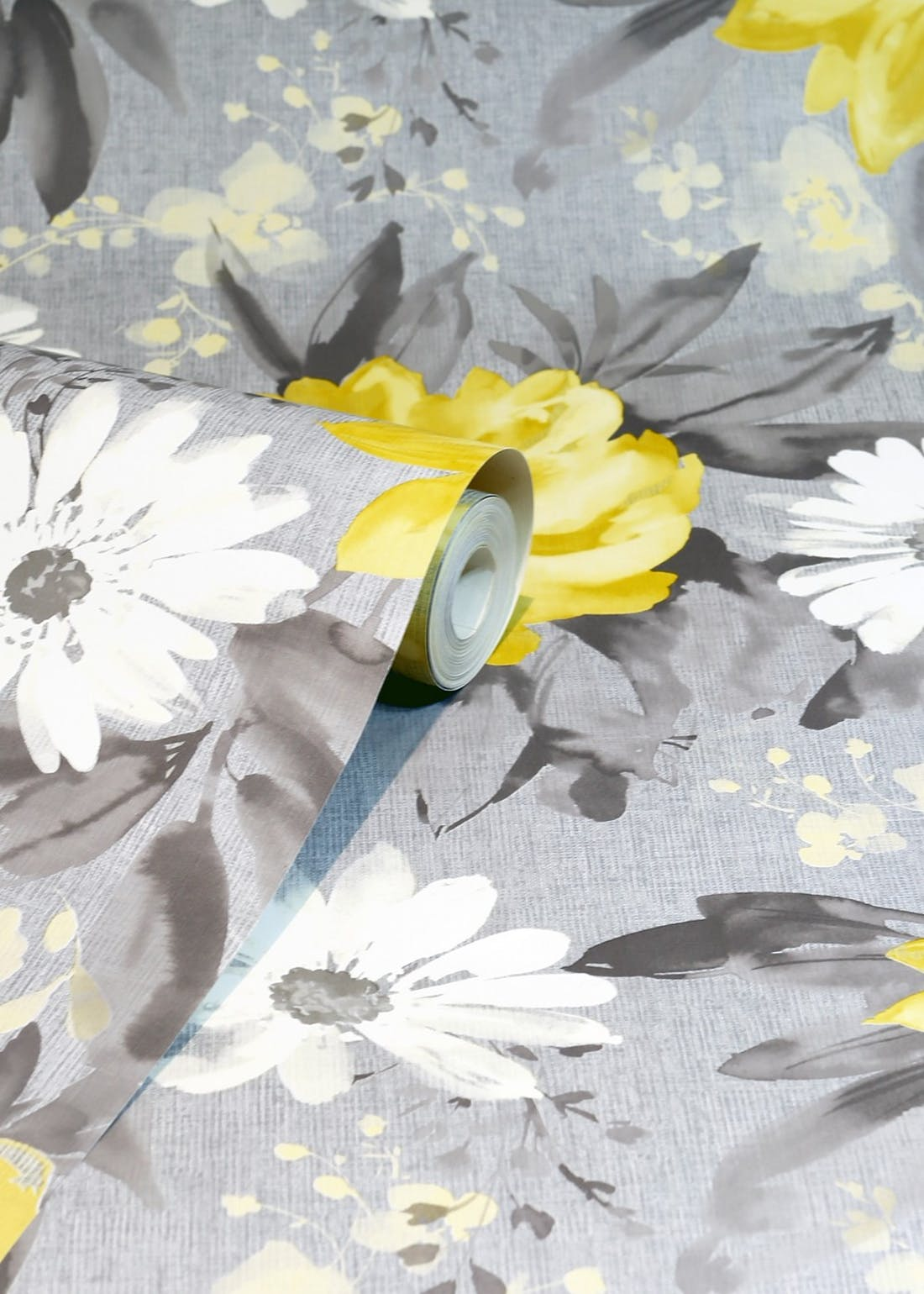 Arthouse Painted Dahlia Grey & Yellow Wallpaper (10.05m x 53cm)