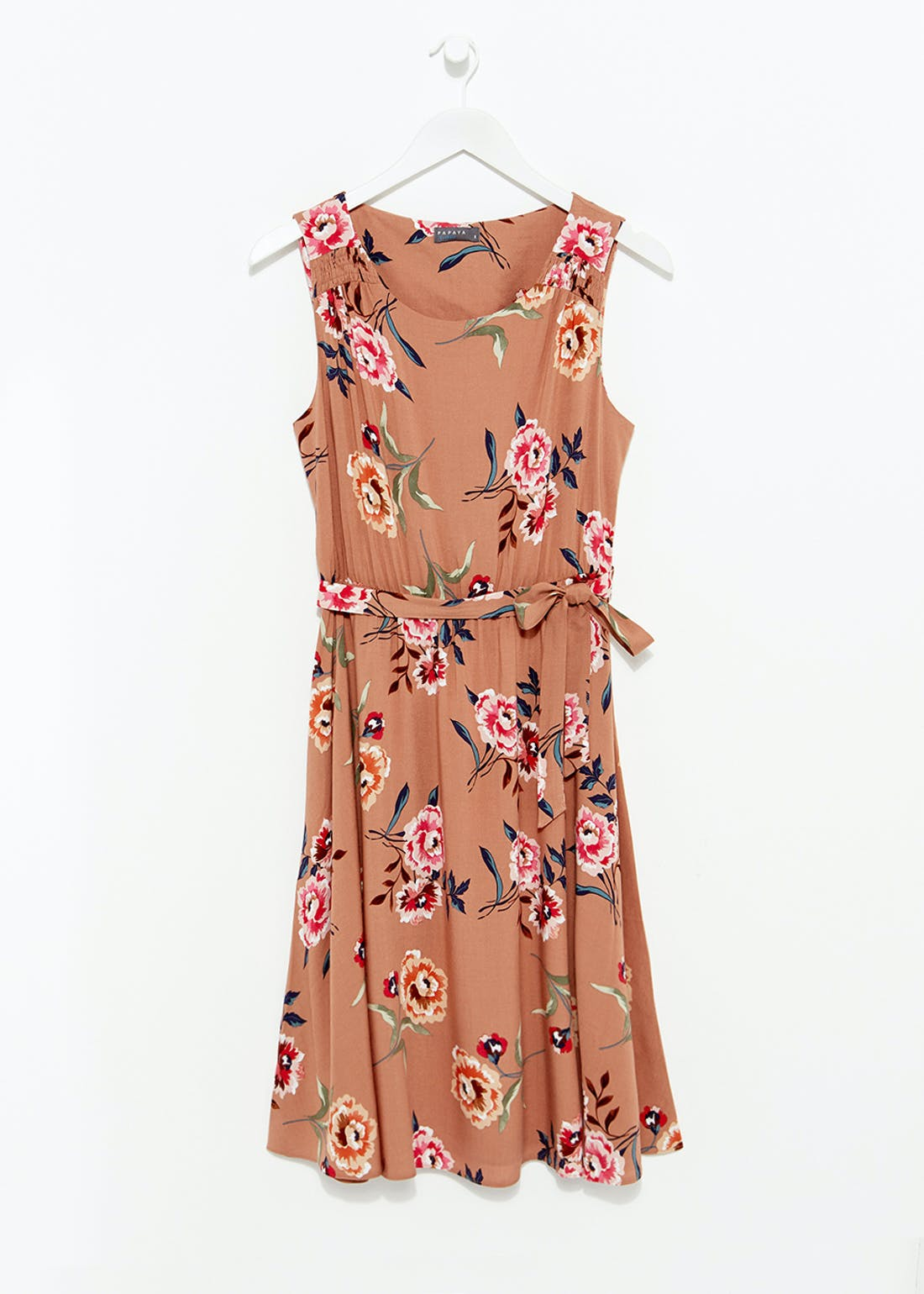 Papaya Classic Floral Belted Dress