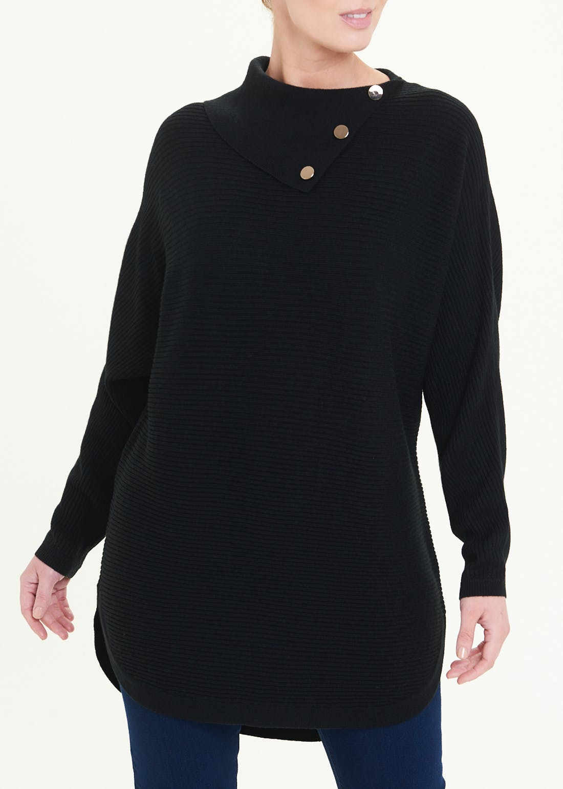 Soon Button Neck Ribbed Longline Jumper