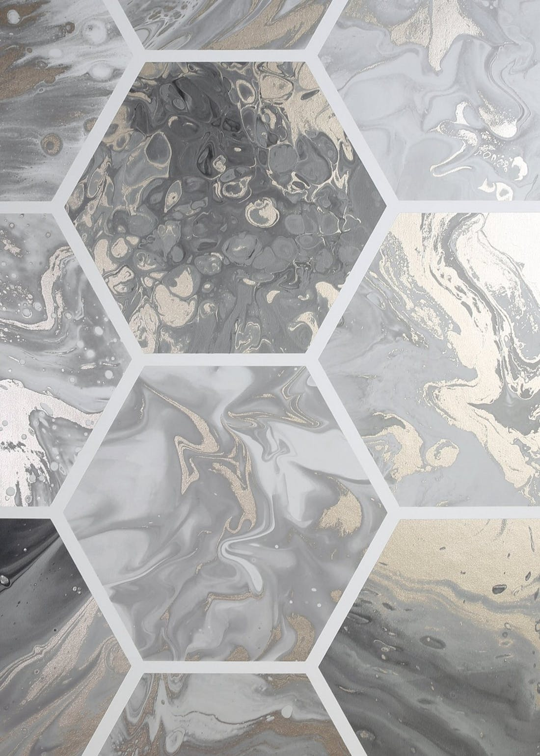 Arthouse Marble Hex Charcoal Wallpaper (10.05m x 53cm)