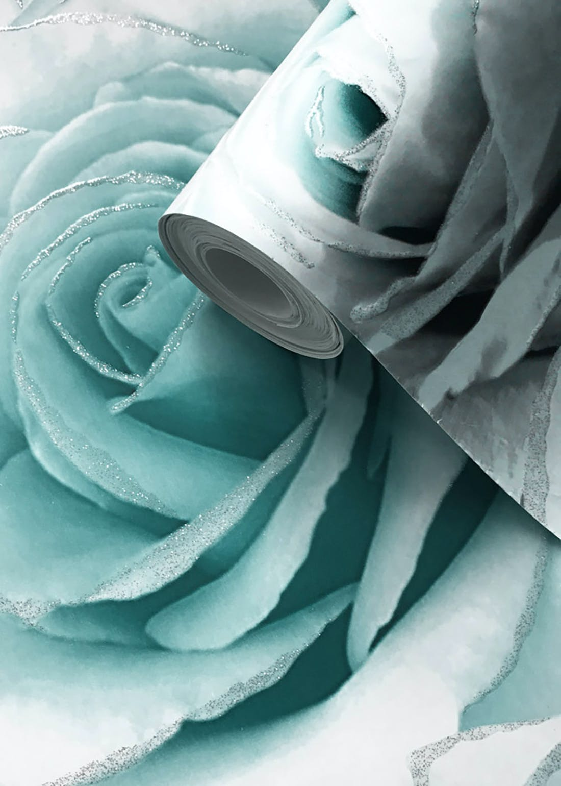 Muriva Madison Aqua Glitter Rose Wallpaper (10.05m x 53cm)