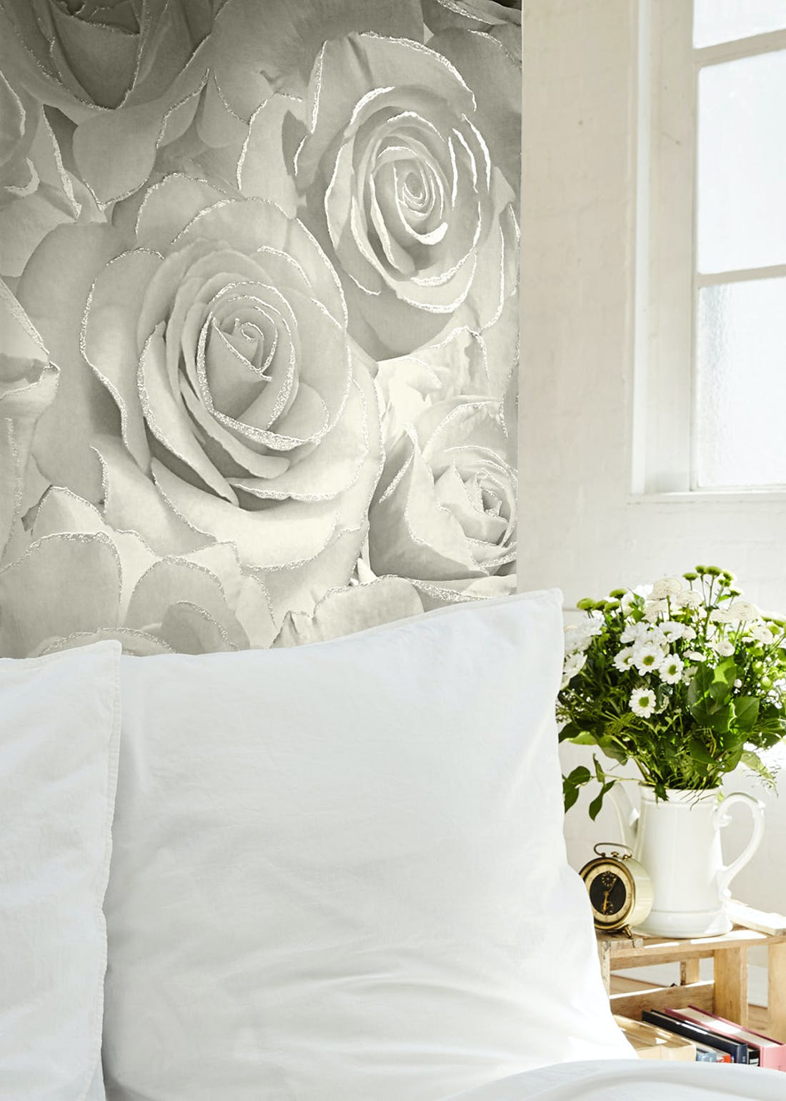 Muriva Madison Pearl Glitter Rose Wallpaper (10.05m x 53cm)