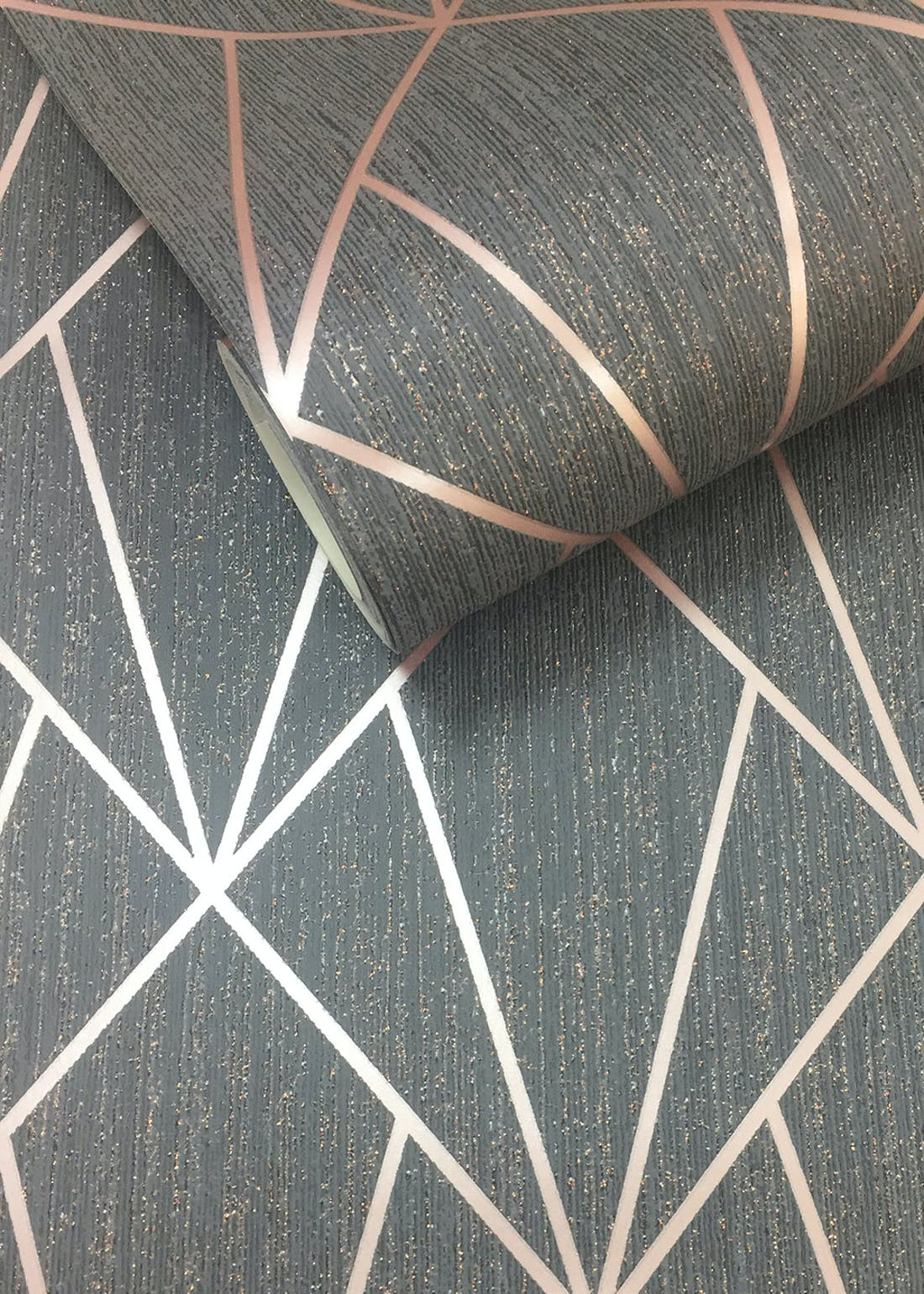 Muriva Indra Charcoal Rose Gold Wallpaper (10.05m x 53cm)