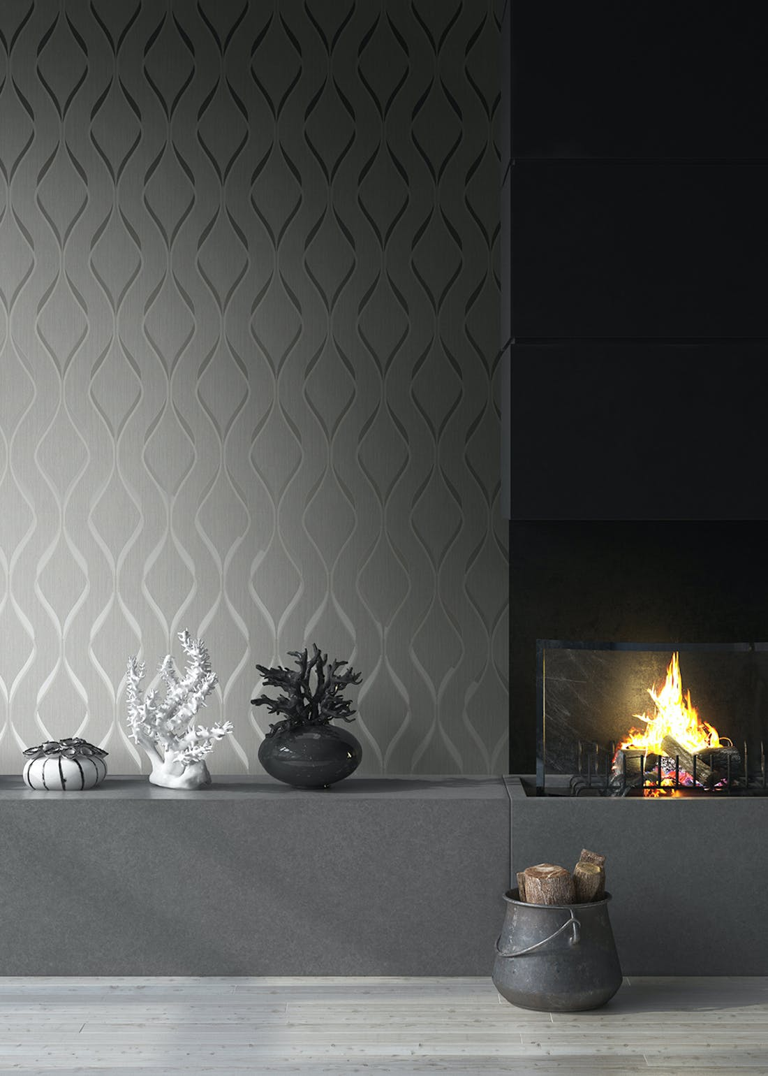 Muriva Indra Wave Grey Wallpaper (10.05m x 53cm)