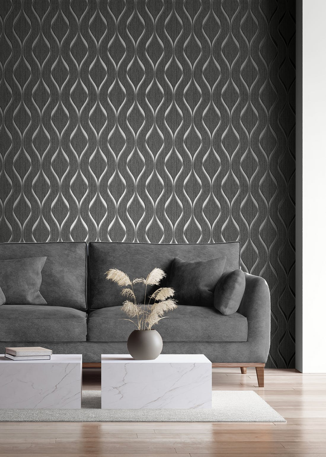 Muriva Indra Wave Charcoal Wallpaper (10.05m x 53cm)