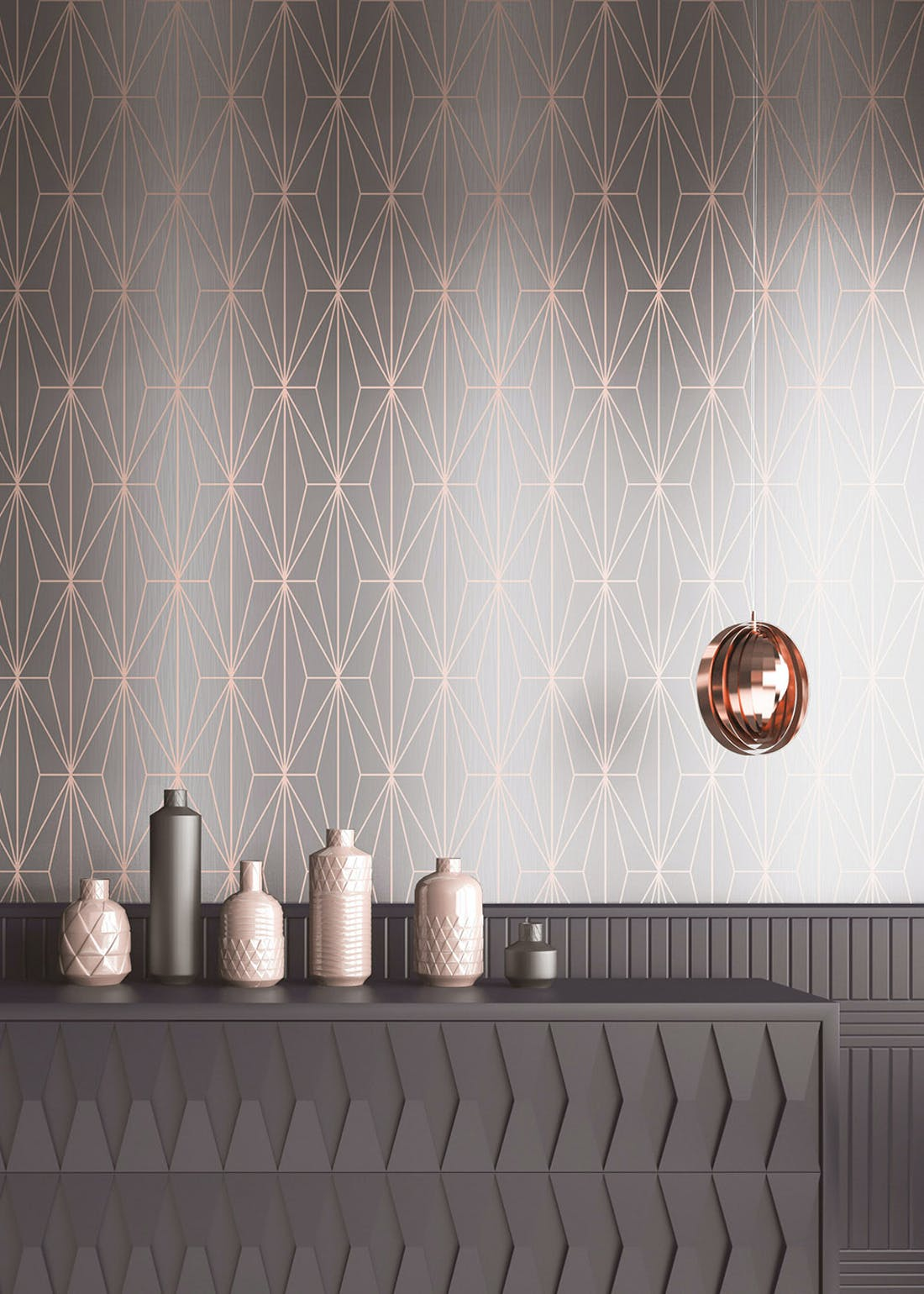 Muriva Couture Kayla Grey Rose Gold Foil Wallpaper (10.05m x 53cm)