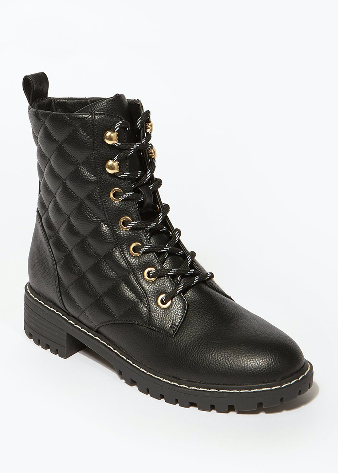 Black Quilted Lace Up Boots
