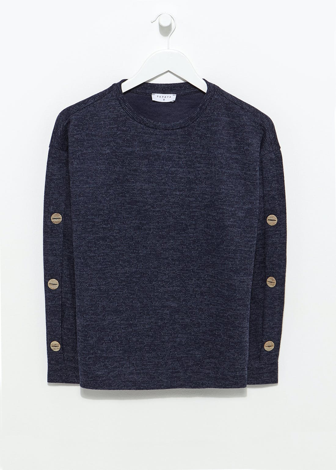 Ribbed Button Sleeve Jumper
