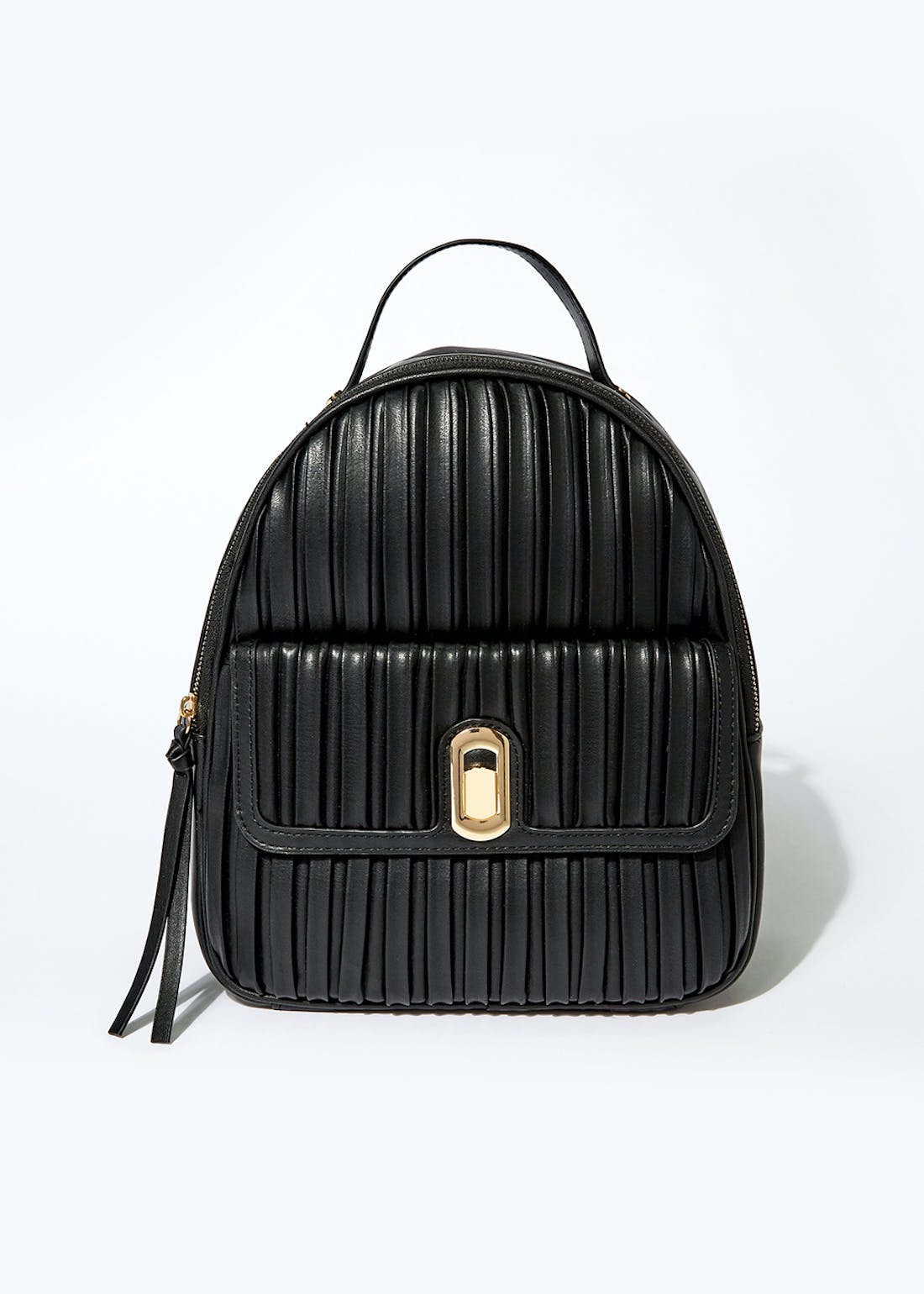 Black Pleated Backpack