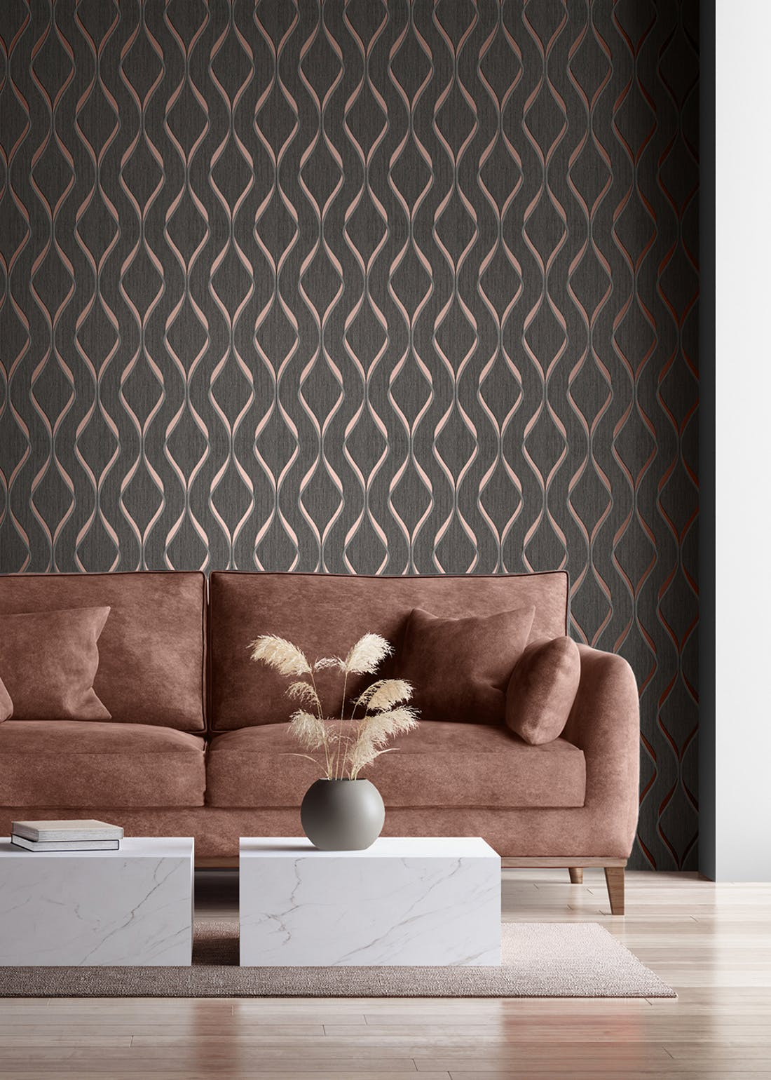 Muriva Indra Wave Rose Wallpaper (10.05m x 53cm)